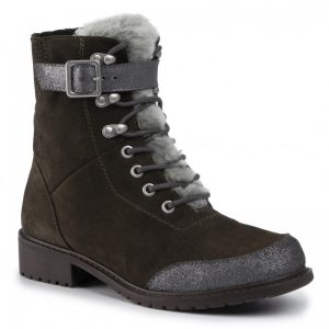 EMU WALDRON WATERPROOF BOOT MONREAL SHEEPSKIN SUADE LACES KHAKI