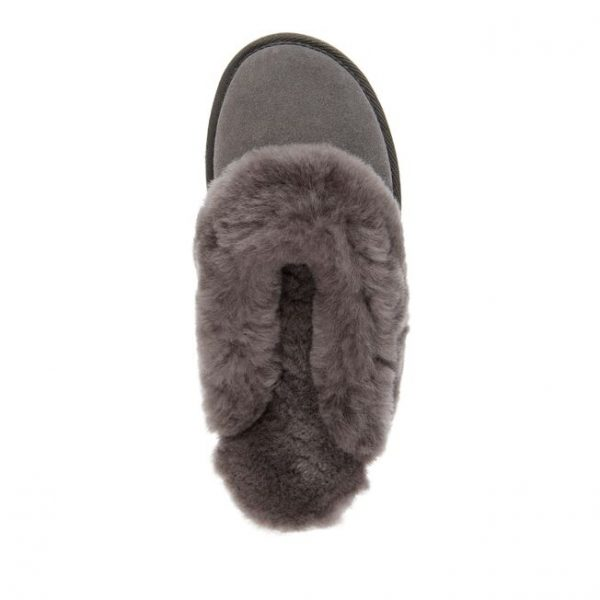 EMU SLIPPERS JOLIE CHARCOAL SHEEPSKIN MONREAL SUEDE FLAT