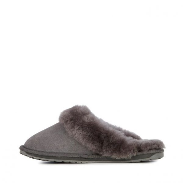 EMU SLEEPERS JOLIE CHARCOAL SHEEEMU SLIPPERS JOLIE CHARCOAL SHEEPSKIN MONREAL SUEDE FLAT