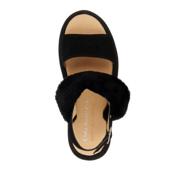 Emu sling back black sheepskin sandal monreal durack
