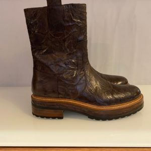 PONS QUINTANA BROWN LEATHER BOOTS CHUNKY SOLE COMBAT