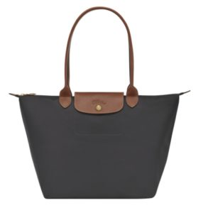 Longchamp Le Pliage fusil gun metal tote large tan handles brown leather Longchamp Ireland