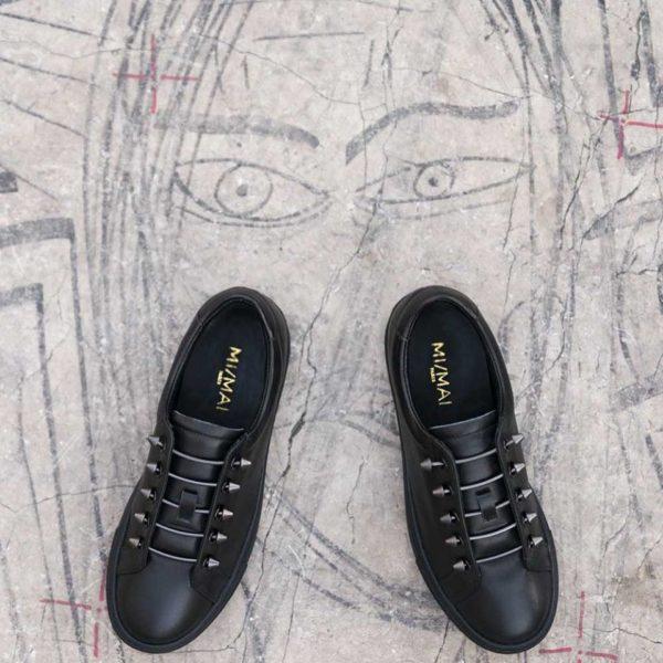 mimai black runner mi mai leather piercings fastening sneaker runner flat monreal