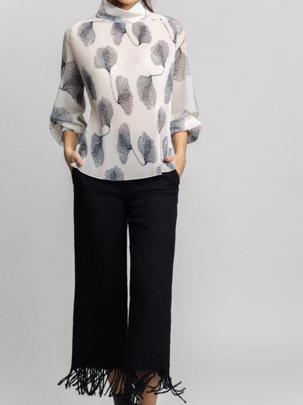 fringed fringe culottes trousers black monreal wool pants