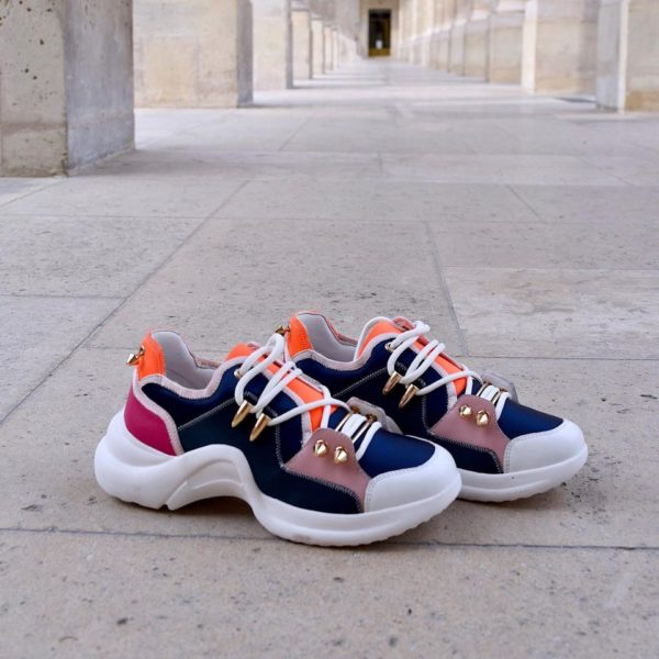 mi mai finn leather black trainer runner basket sneaker piercings pop coloured multicoloured