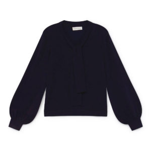 navy jumper with scarf detail bow ribbon