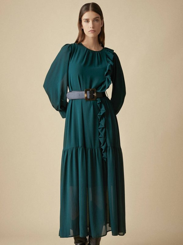 Simorra Moss green dress emerald long ruffle long sleeved semitrasnparent balloon sleeves