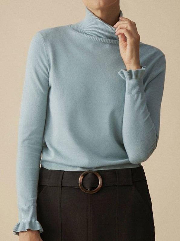 aqua polo neck turtle neck mint duckegg knit