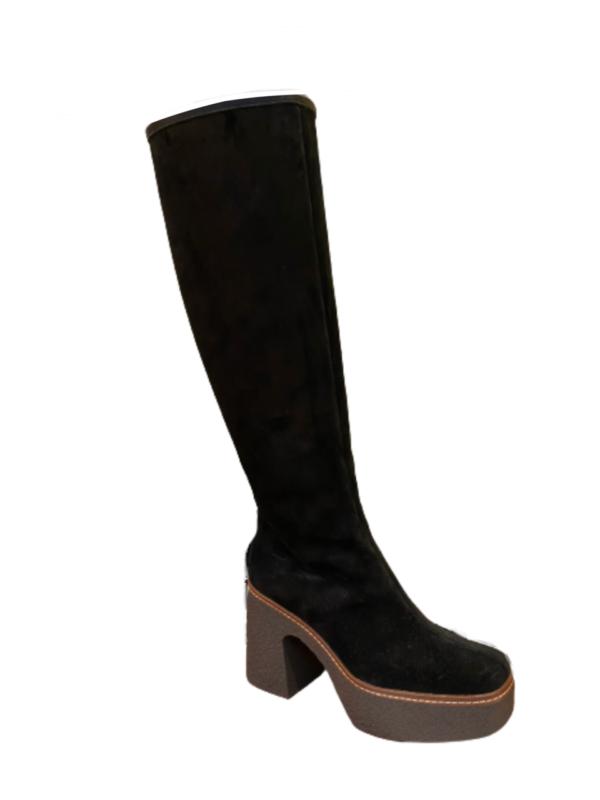 pons quintana suede velours boot kneehigh retro high heel ireland monreal quality leather black boots