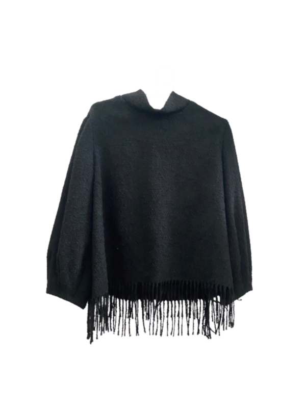 fringe top alba conde wool alpaca smart casual boutique style black top fringes