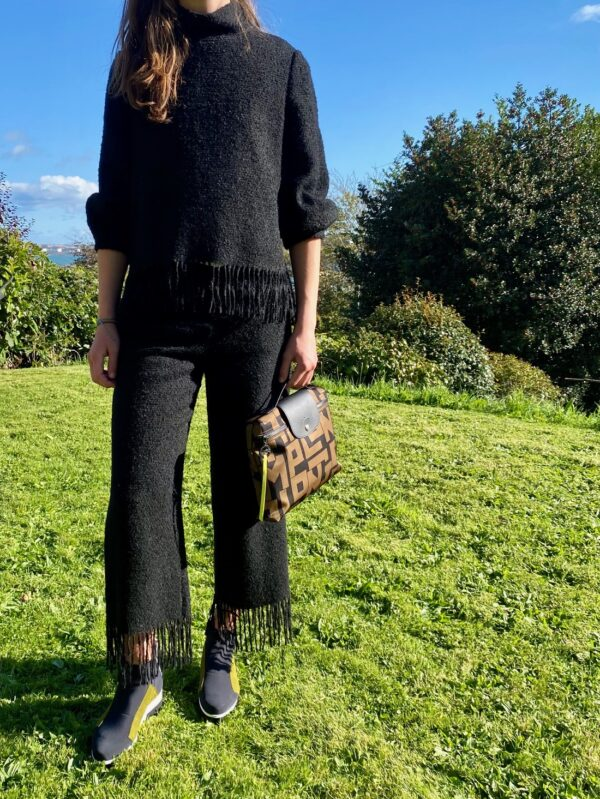 fringe clothes top trousers two piece outfit ireland wool trousers wool top black suit