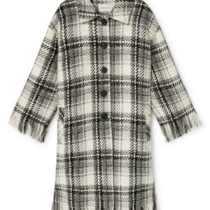 ams pure aldo checked coat wool coat monreal fringes black and whitee