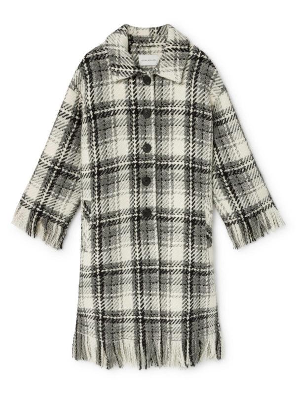 ams pure aldo checked coat wool coat monreal fringes black and whitee