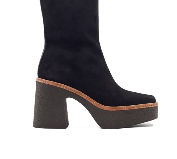 pons quintana suede boots kneehigh chunky platform vintage retro