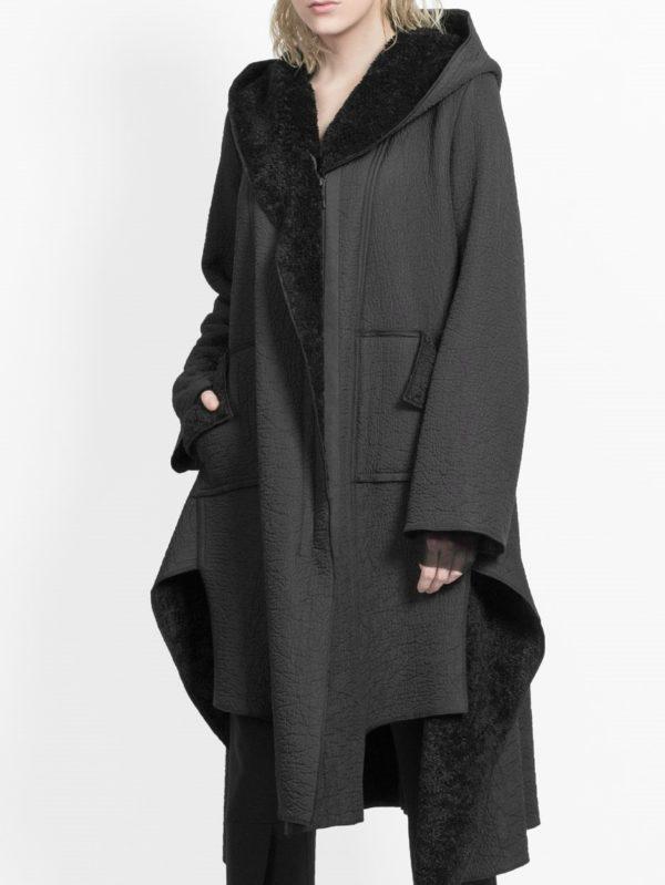 xenia coat faux fur sherling black monreal