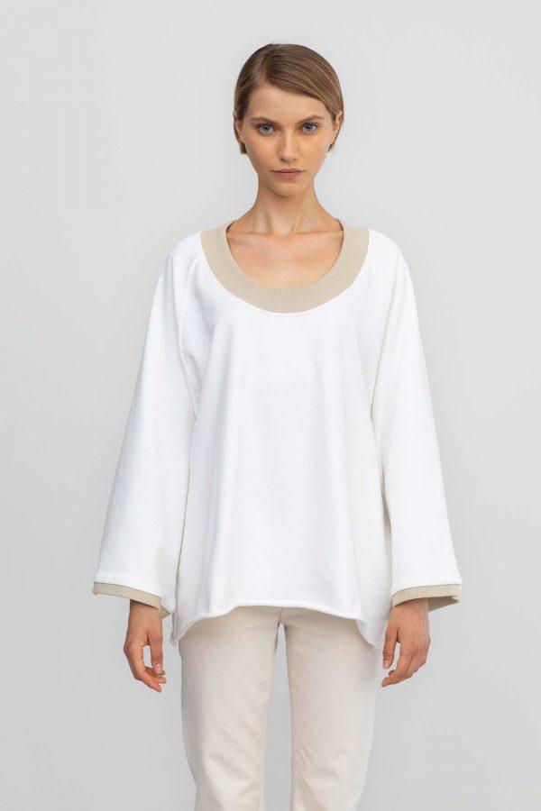 oof ireland outwear sweatshirt cotton oversided flared white nightblue navy