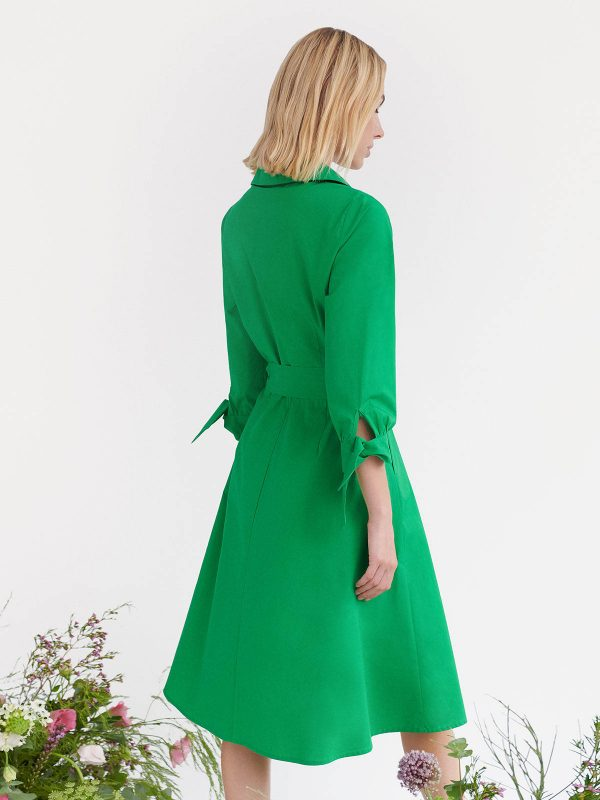 Simorra green Emerald dress ireland wrap dress bow tied cuffs ribbon dress