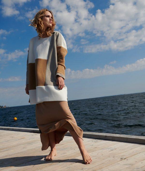 multicolour sweater fleece dress monreal henriette ireland sand off white camel