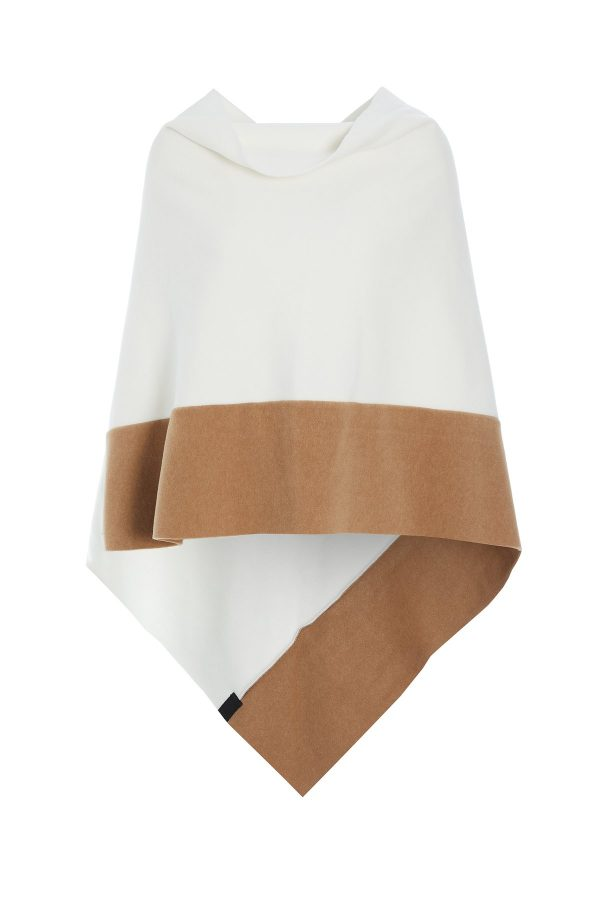 poncho fleece sand taupe monreal beige ireland henriette steffansen camel off white two tone
