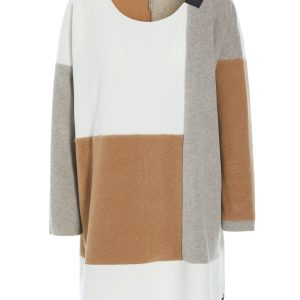 multicolour sweater fleece dress monreal henriette ireland sand off white camel