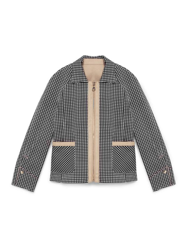 it's printed in a biscuit beige gingham check s fully reversible, Jacket boutique reversible check beige ivory onreal simorra short
