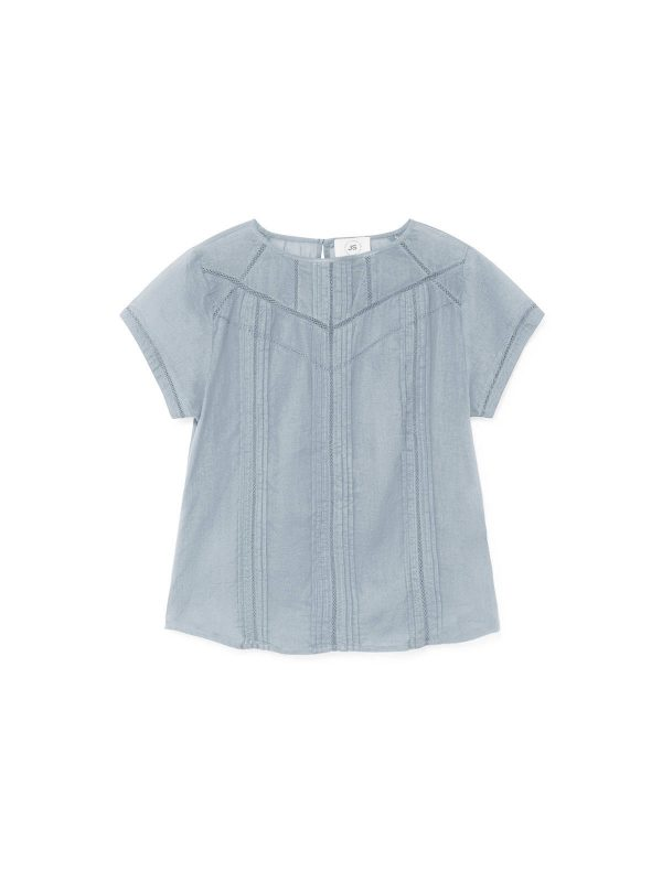 pale blue top shirt blouse ocean blue embroidery openwork ireland longchamp