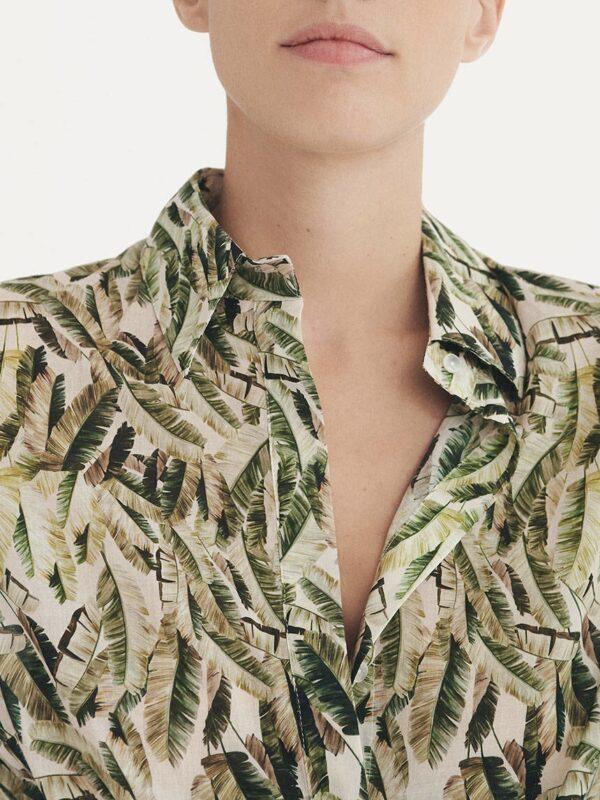 Simorra blouse shirt jungle print palm leaf tropical kaki khaki Monreal Ireland fashion cotton