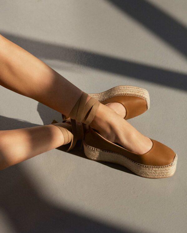Espadrilles tan leather ankle wrap tie lace ireland platform flatform ss21 lace up irish boutique
