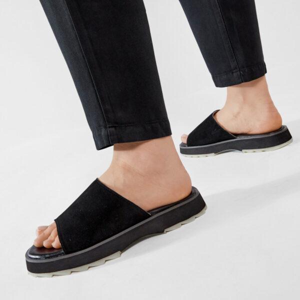 emu raijidae slides manta sandals black leather sharky emu ireland emuaustralia flat slip on