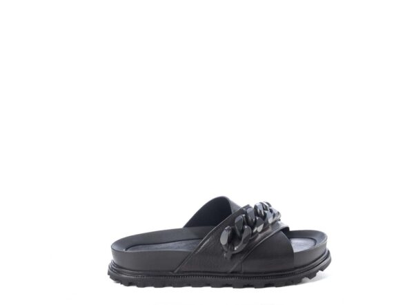vic matie chain slide black sandal mule leather monreal ireland