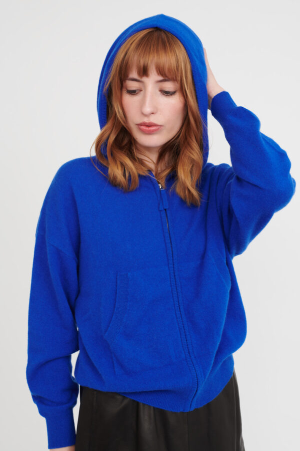 cashmere ireland hoodie sweater jumper blue hood pockets cork