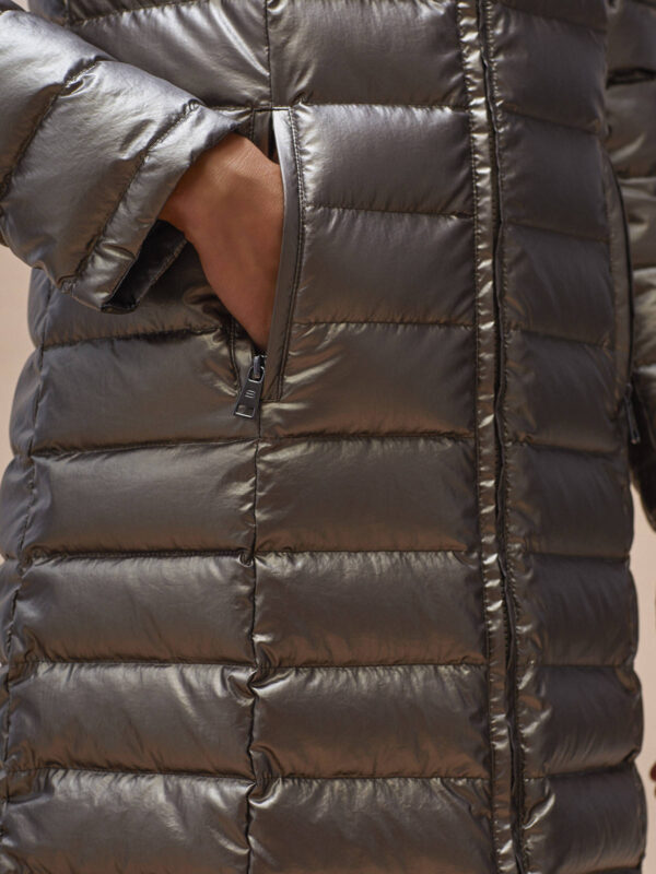Puffer jacket padded quilted down feathers sage Alaska Ireland Monreal SIMORRA Coat reversible metallic