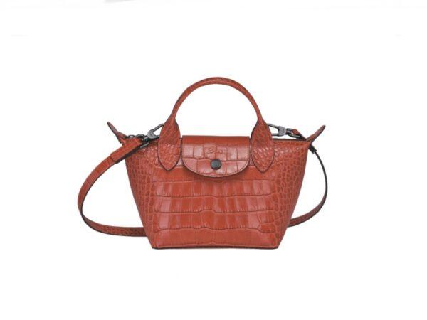 Longchamp Ireland leather orange cuir crocodile style crossbody Longchamp Ireland Le Pliage cuir