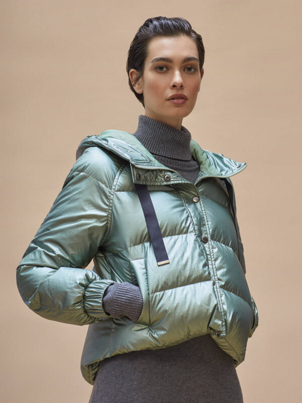 Puffer jacket padded quilted down feathers sage Alaska Ireland Monreal SIMORRA