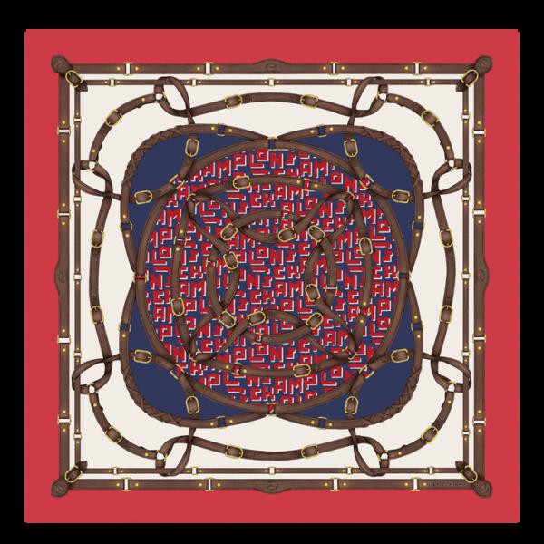 longchamp ireland silk scarf equestrian red