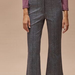 SIMORRA Ireland cropped flare trousers herringbone neutral colours